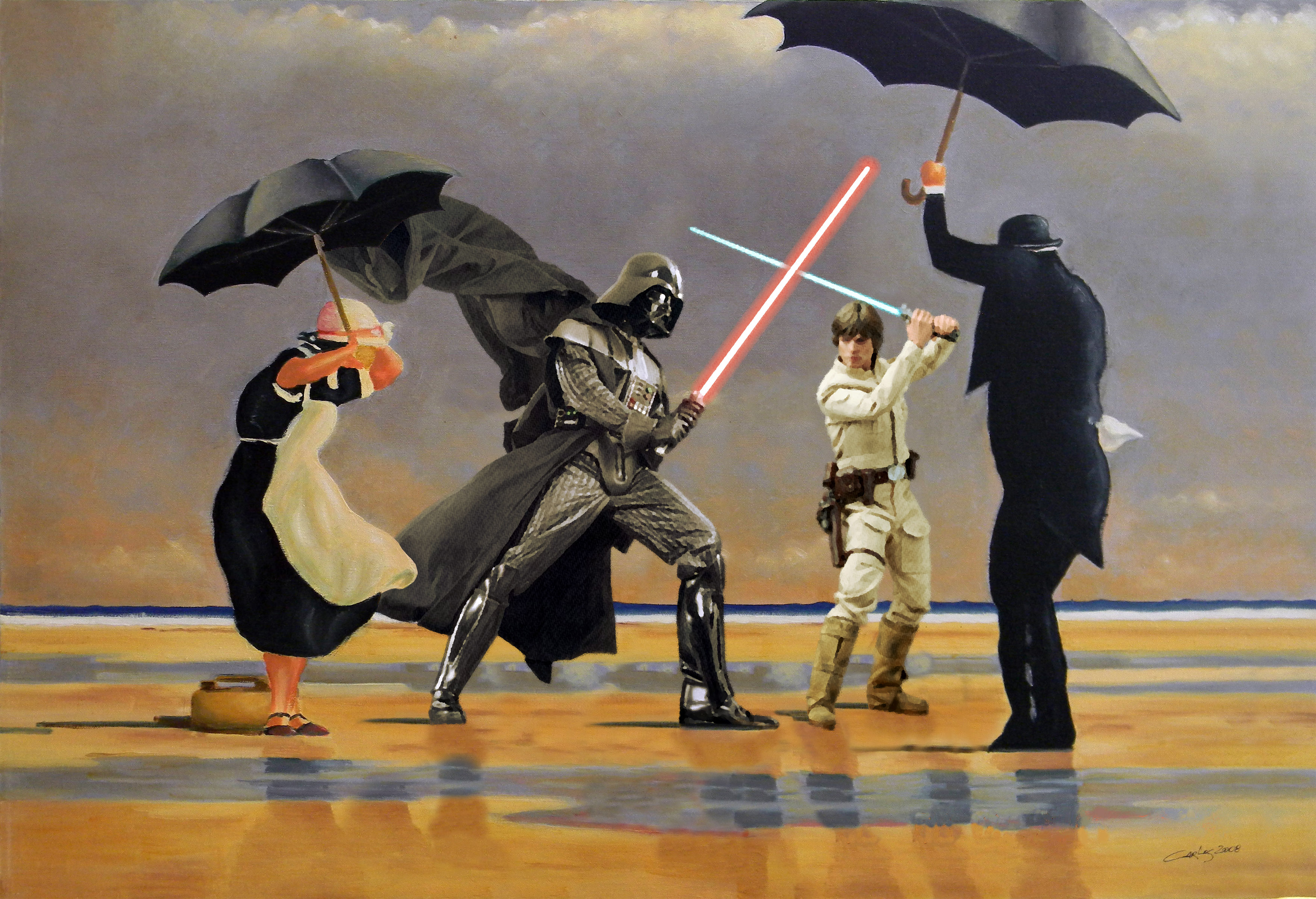 PIC BY DAVE HAMILTON/ CATERS NEWS - (PICTURED: Jack Vettriano, The Singing Butler with Darth Vader and Luke Skywalker) - An artist has given classic paintings NEW HOPE - by adding STAR WARS elements into the famous works. David Hamilton, 50, put his unique twist on paintings by the likes of Monet, Munch, Rembrandt and Van Gogh. The creative artist, from Livingston, Scotland, came up with the idea while flicking through a book of classic paintings. As a Star Wars fanatic he thought to himself how funny it would be funny to see a Stormtrooper incorporated into one of the works. SEE CATERS COPY.