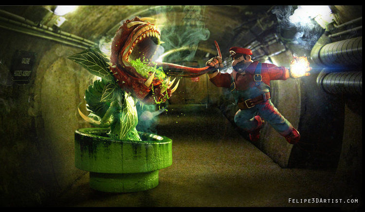 fan-art-gritty-mario-takes-no-sh-t-from-pesky-piranha-plants-347798