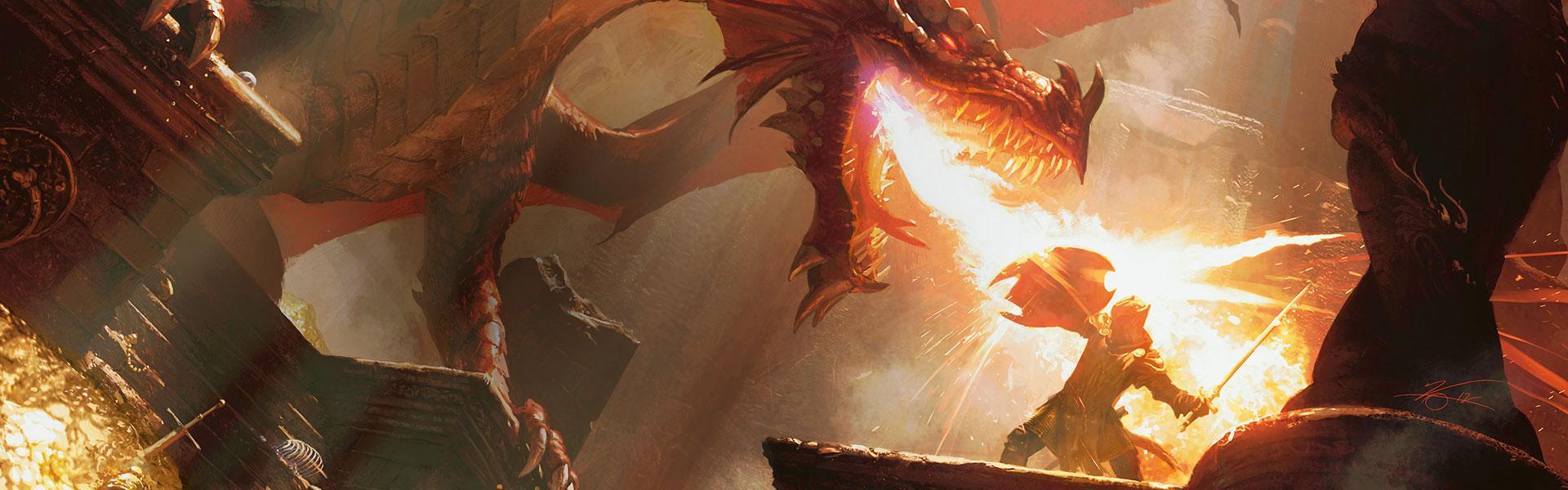 Εικόνα: Βλέπουμε πλάγια ένα δράκος να πετάει φλόγες σε έναν άντρα με ειδική ενδυμασία που δε φαίνεται, ενώ εκείνος κρατάει ξίφος και μια ασπίδα για να προστατευτεί.